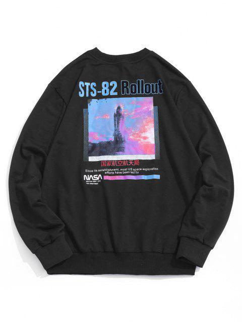 buy Graphic Print Rib-knit Trim Pullover Sweatshirt - BLACK XL Mobile