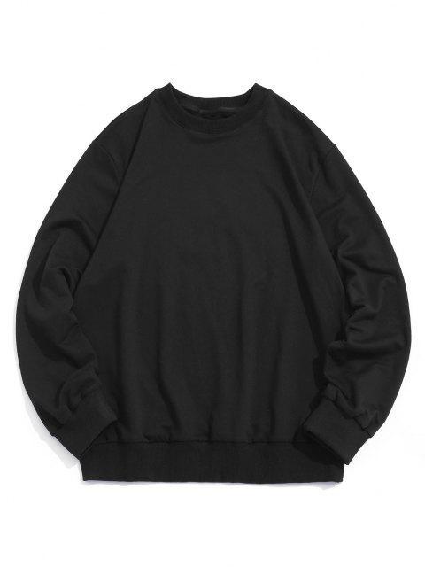 Grafik Druck Rippen Strick Trimm Kapuze Sweatshirt - Schwarz 2XL Mobile