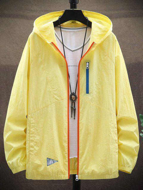 Jaqueta de Juventude de Manga Comprida com Capuz Lacando Zíper - Milho Amarelo 4XL Mobile