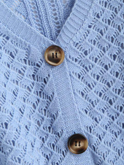 best Openwork Lantern Sleeve Button Up Cardigan - LIGHT BLUE L Mobile