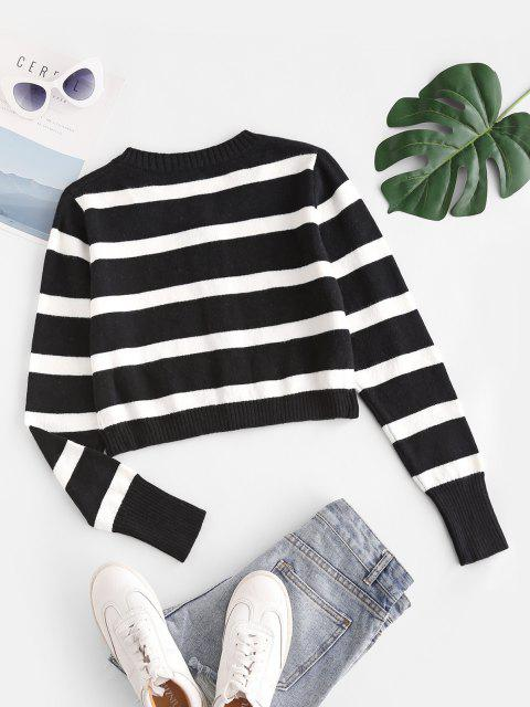 women Striped Button Up Crop Cardigan - BLACK ONE SIZE Mobile