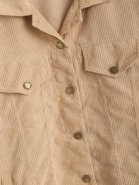 Korduroy Hängender Schulter Klappe Detail Jacke - Licht Kaffee L Mobile