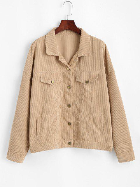 Corduroy Drop Shoulder Flap Detail Jacket - القهوة الخفيفة L Mobile