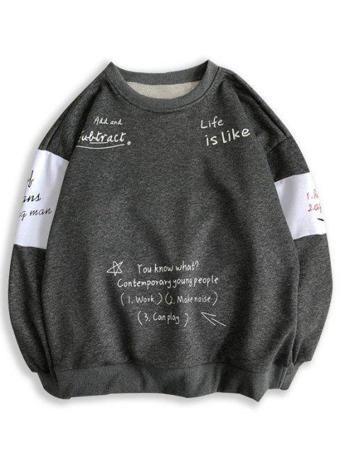 ladies Letter Print Contrast Slogan Sweatshirt - DARK GRAY S Mobile