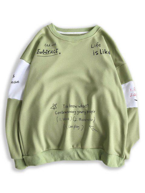 Sweat-shirt Lettre Slogan Imprimé Contrasté - Vert Pistache L Mobile