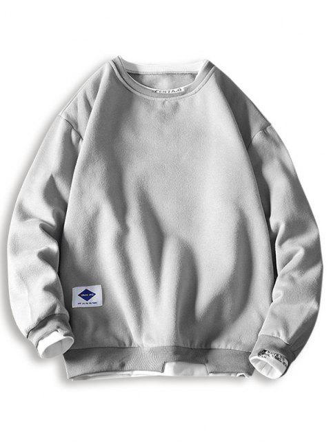 outfits Letter Embroidery Contrast Stepped Hem Sweatshirt - LIGHT GRAY 3XL Mobile