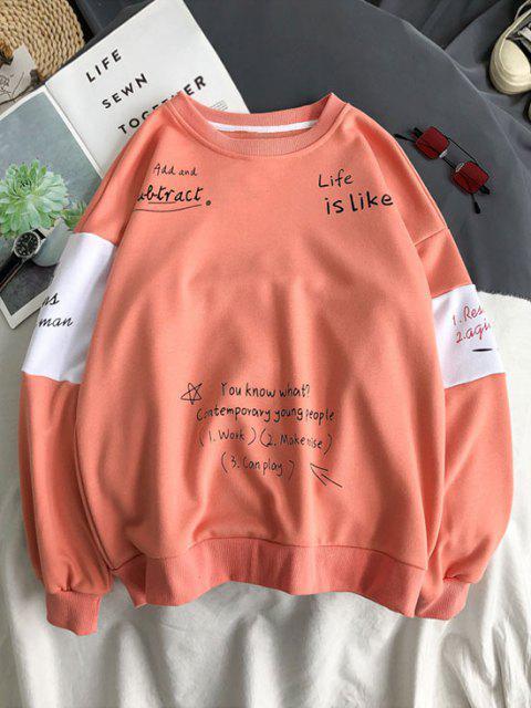 Sweat-shirt Lettre Slogan Imprimé Contrasté - Rose Pastèque S Mobile