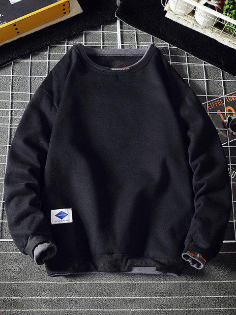 women Letter Embroidery Contrast Stepped Hem Sweatshirt - BLACK 3XL Mobile