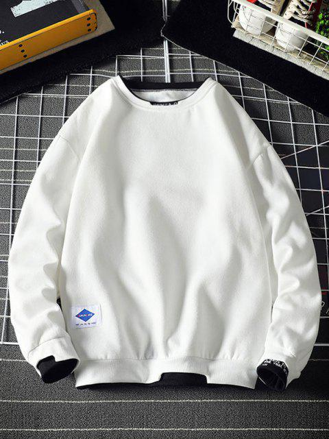 online Letter Embroidery Contrast Stepped Hem Sweatshirt - WHITE 2XL Mobile