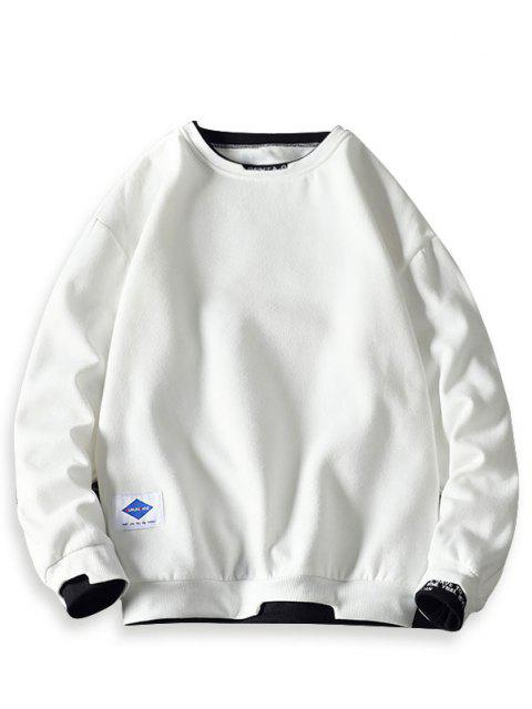 Letter Embroidery Contrast Stepped Hem Sweatshirt - أبيض XL Mobile