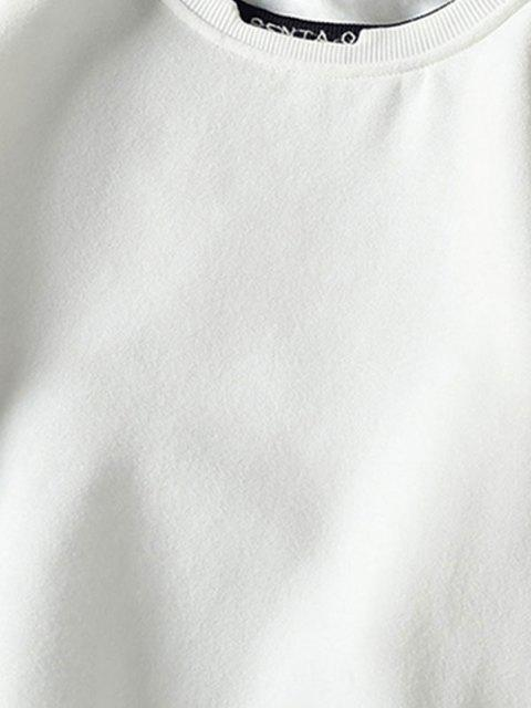 fashion Letter Embroidery Contrast Stepped Hem Sweatshirt - WHITE M Mobile