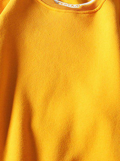 fancy Letter Embroidery Contrast Stepped Hem Sweatshirt - YELLOW 3XL Mobile