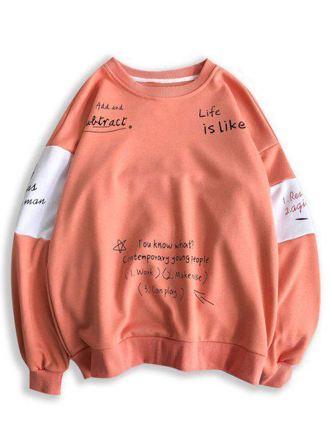 buy Letter Print Contrast Slogan Sweatshirt - WATERMELON PINK XL Mobile