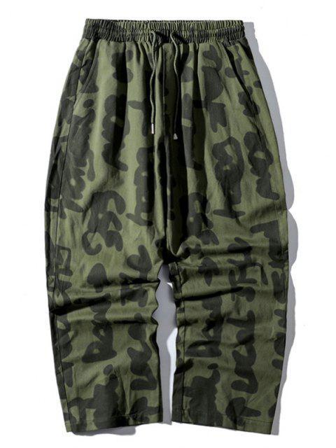 Pantalon Droit Décontracté Caractère Abstrait Imprimé - Vert Armée  XS Mobile