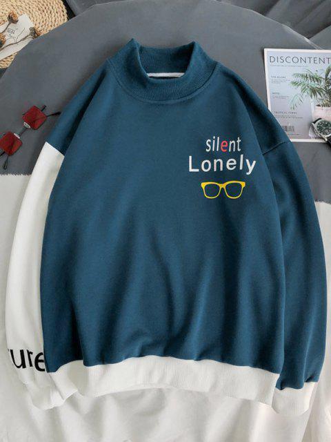 unique Letter Print Mock Neck Contrast Sweatshirt - BLUE M Mobile