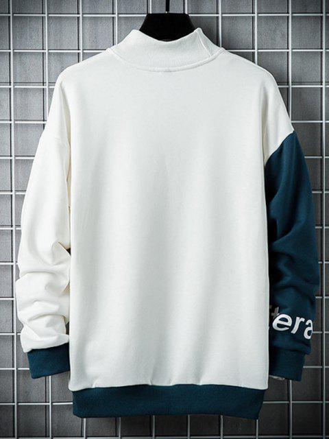 Letter Print Mock Neck Contrast Sweatshirt - أبيض 2XL Mobile
