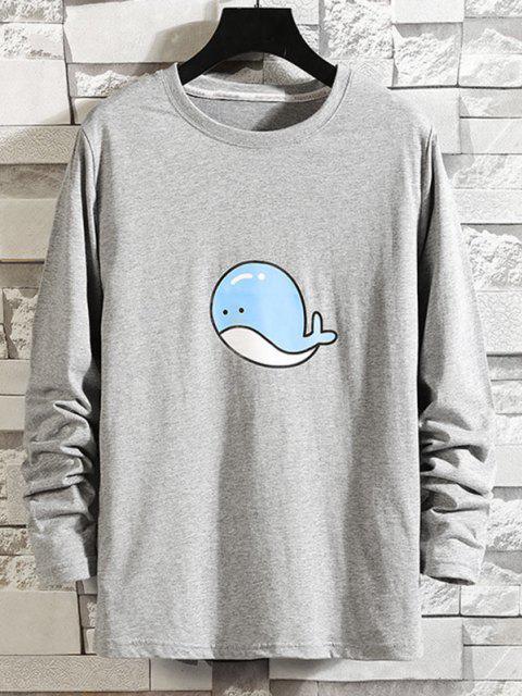 T-shirt de Manga Comprida com Padrão de Golfinho - Cinzento M Mobile