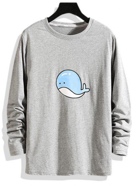 T-shirt de Manga Comprida com Padrão de Golfinho - Cinzento XL Mobile
