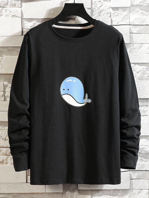 T-shirt de Manga Comprida com Padrão de Golfinho - Preto XS Mobile