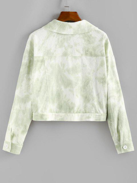 ZAFUL Tie Dye Flap Detail Jacket - اخضر فاتح M Mobile