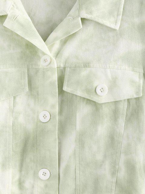 ZAFUL Krawattenfärbender Klappe Jacke - Hellgrün M Mobile