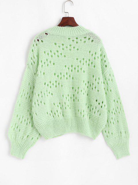 Stehkragen Hängender Schulter Pointelle Strick Pullover - Grün Eine Größe Mobile
