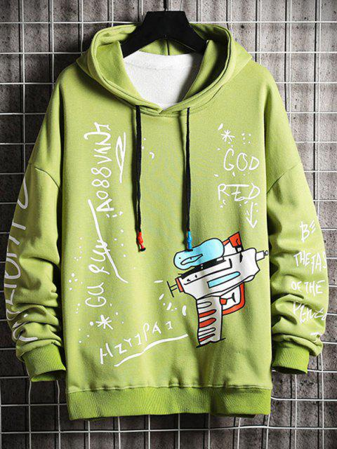 new Drop Shoulder Letter Graphic Pattern Hoodie - GREEN 3XL Mobile