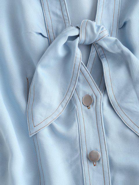 fashion ZAFUL Chambray Button Up Tied Mini Dress - LIGHT BLUE L Mobile