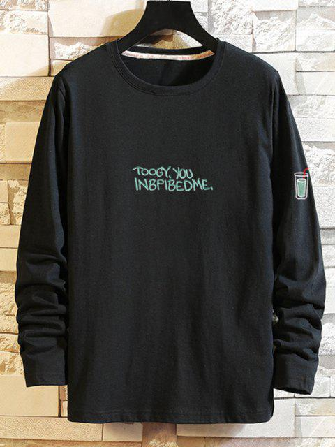 Camiseta Manga Larga Estampado Étnico - Negro S Mobile