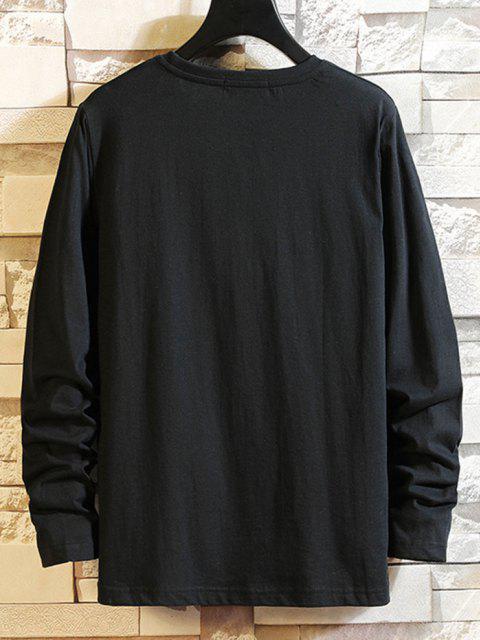 Camiseta Manga Larga Estampado Étnico - Negro XS Mobile