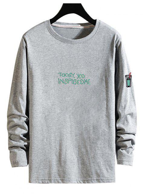 shops Letter Drink Print Long Sleeve T Shirt - GRAY S Mobile