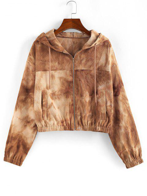 ZAFUL Tie Dye Drop Shoulder Hooded Jacket - كاكي L Mobile