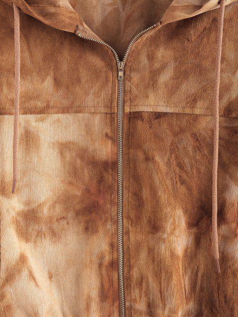 ZAFUL Krawattenfärbender Hängender Schulter Kapuzenjacke - Khaki L Mobile