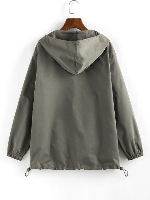 ZAFUL Hooded Toggle Drawstring Zipper Jacket - الجيش الأخضر L Mobile