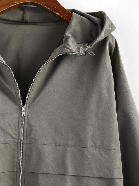 sale ZAFUL Hooded Toggle Drawstring Zipper Jacket - ARMY GREEN S Mobile