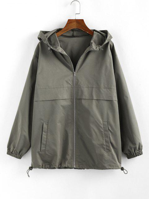 ladies ZAFUL Hooded Toggle Drawstring Zipper Jacket - ARMY GREEN M Mobile