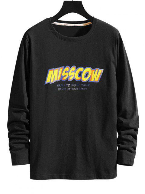fashion Letter Graphic Long Sleeve Tee - BLACK L Mobile