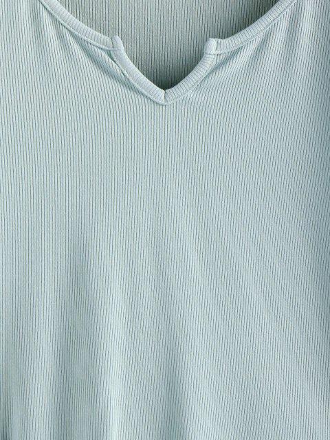 ZAFUL Kopfsalat Trim Crop Einfarbige T-Shirt - Hellgrün L Mobile