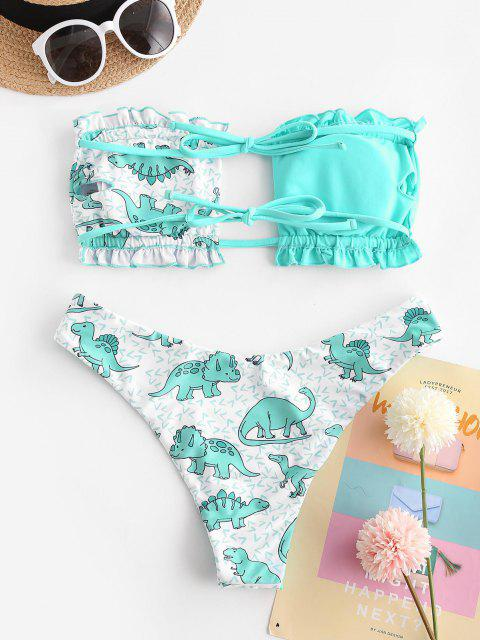 ladies ZAFUL Tie Butterfly Dinosaur Print Frilled Bandeau Bikini Swimwear - BLUE M Mobile