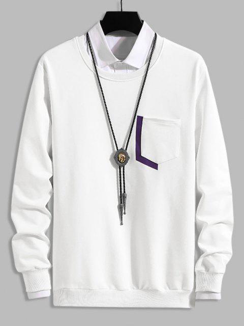Sweat-shirtDécontractéLettreImpriméeavecPocheàColRond - Blanc XS Mobile