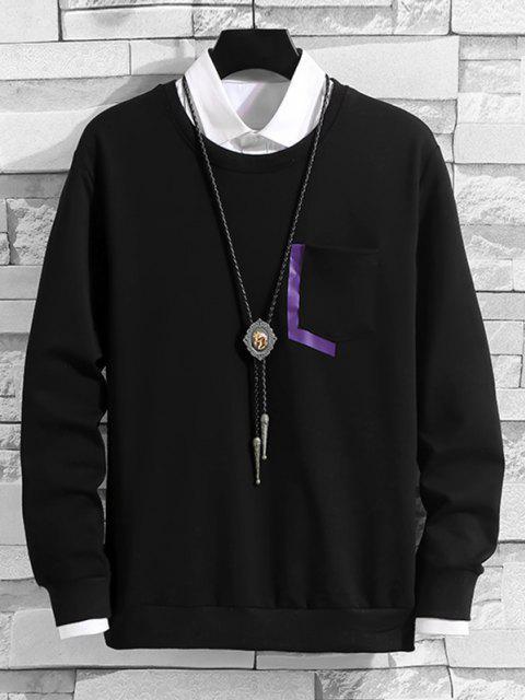 ladies Letter Print Pocket Crew Neck Lounge Sweatshirt - BLACK XS Mobile