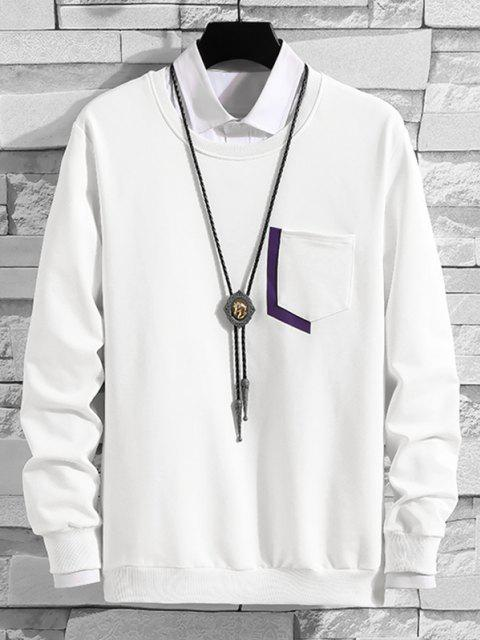 latest Letter Print Pocket Crew Neck Lounge Sweatshirt - WHITE L Mobile