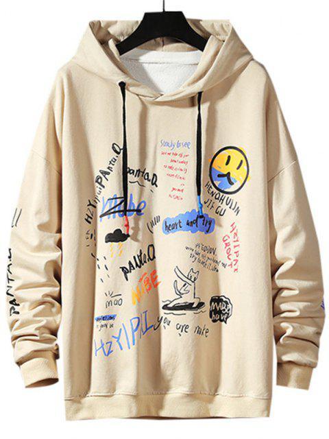 outfit Letter Graffiti Drop Shoulder Hoodie - KHAKI S Mobile