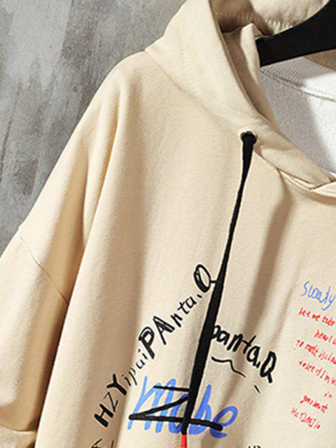 sale Letter Graffiti Drop Shoulder Hoodie - KHAKI M Mobile