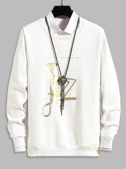 Sweat-shirtDécontractéGraphique à Col Rond Corne de Musique - Blanc S Mobile