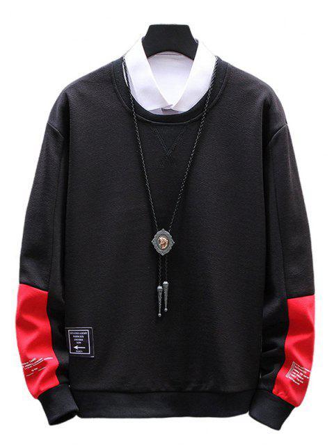 Buchstabe Grafik Farbblock Sweatshirt - Schwarz XS Mobile