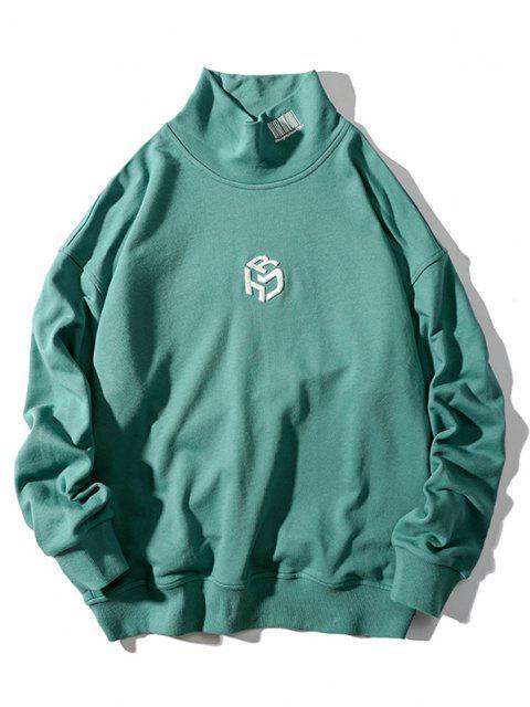 Sweat-shirt Lettre Brodée Goutte Epaule à Col Montant - Turquoise Foncée 2XL Mobile