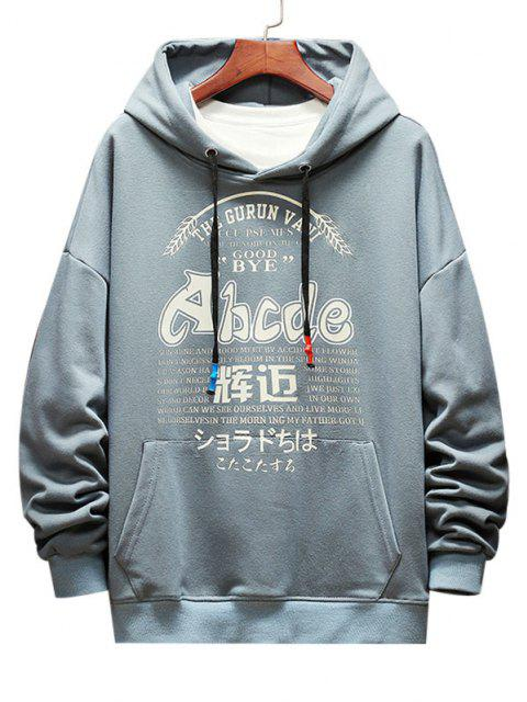 shops Letter Graphic Print Drop Shoulder Casual Hoodie - DENIM BLUE 3XL Mobile