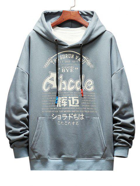 buy Letter Graphic Print Drop Shoulder Casual Hoodie - DENIM BLUE S Mobile