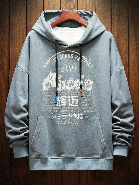 best Letter Graphic Print Drop Shoulder Casual Hoodie - DENIM BLUE L Mobile